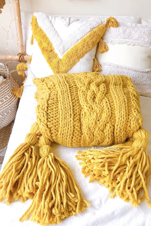 Mustard Yellow Chunky Knitted Throw