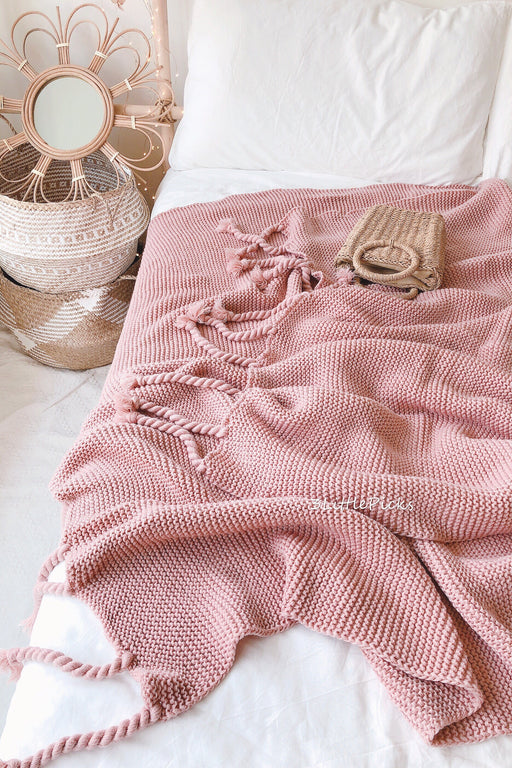 Dusty Pink Tassel Knitted Throw