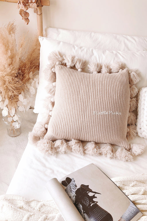 Latte Grey Knitted Tassel Cushion