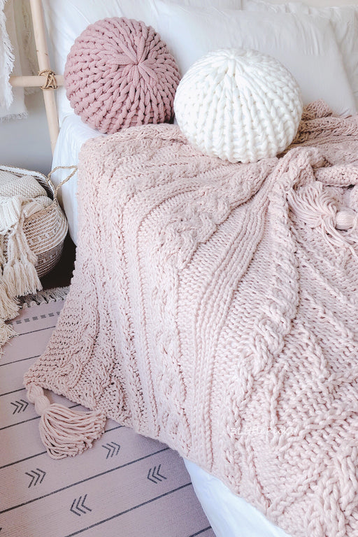 Pastel Peach Pink Chunky Knitted Throw