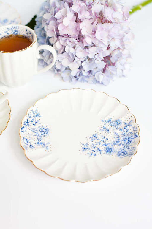 Blue Peonies Round Plate, Dining, 3littlepicks - 3LittlePicks