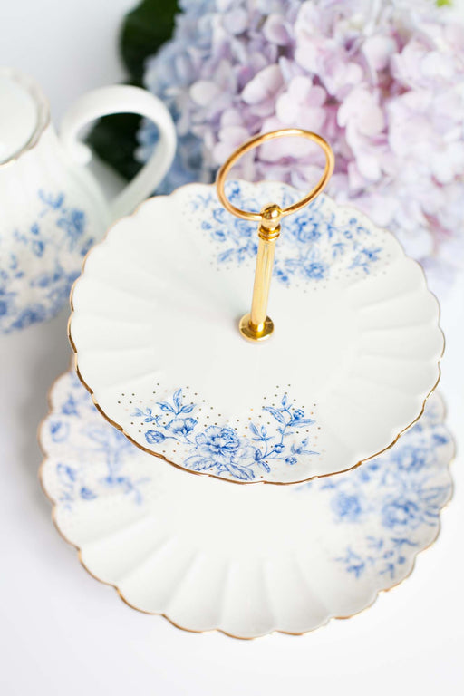 COMING BACK: Blue Peonies Dessert Stand, Serveware, 3littlepicks - 3LittlePicks
