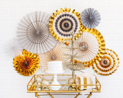 Gold Silver Party Fans, Partyware, My Mind's Eye - 3LittlePicks