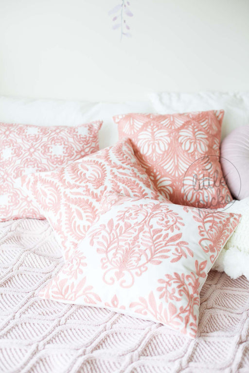 COMING BACK: Rose Pink Embroidered Cushion Covers, Cushion, 3littlepicks - 3LittlePicks