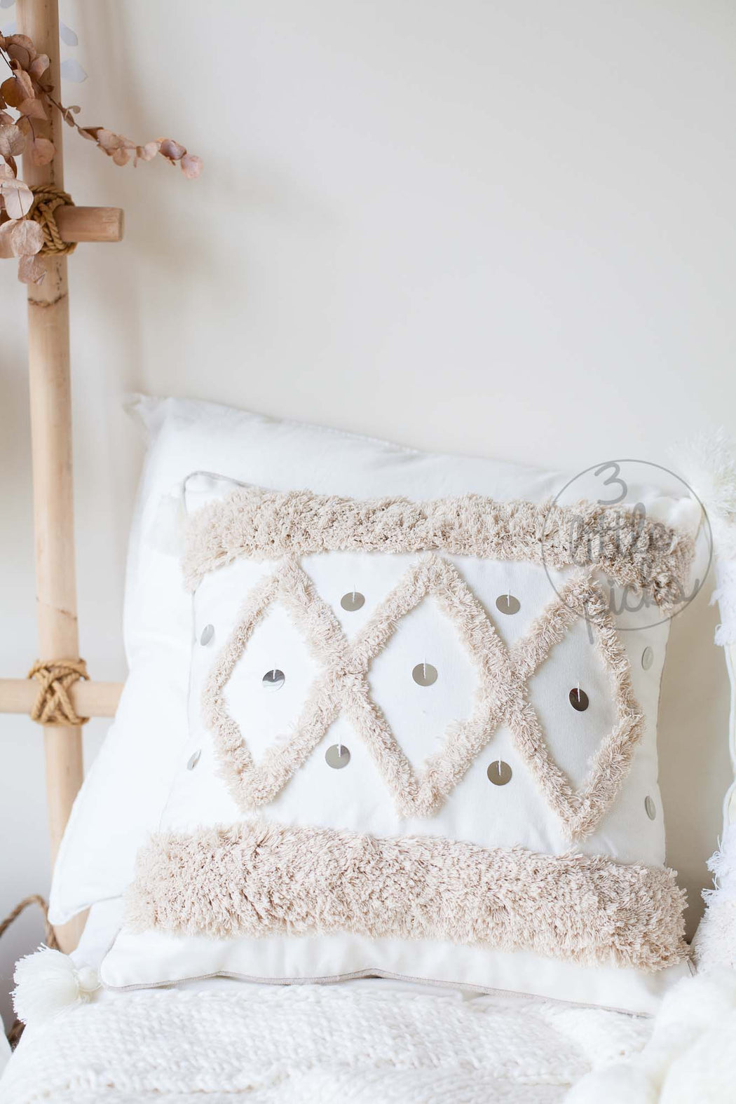 Latte Tufted Sequin Accent Cushion, Cushion, 3littlepicks - 3LittlePicks