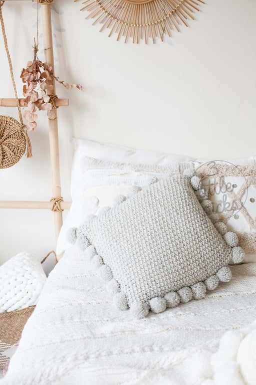 COMING BACK: Light Grey Knitted Pom Pom Cushion, Cushion, 3littlepicks - 3LittlePicks