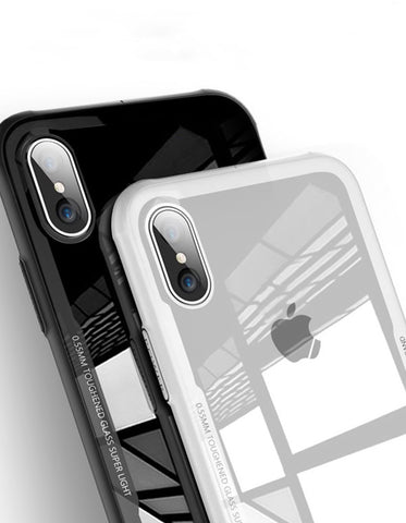Tempered Glass Phone Case For iPhone X 7/8 7/8 Plus