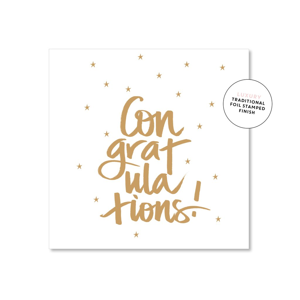 Congratulations Card - Gold Script