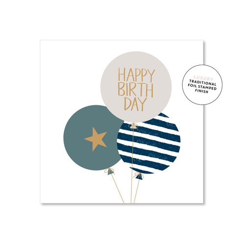 Happy Birthday Card - Blue Balloons