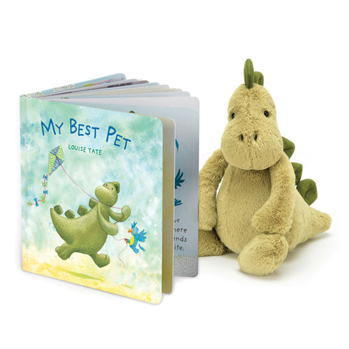 Bundle - My Best Pet Book and Bashful Dino - Jellycat