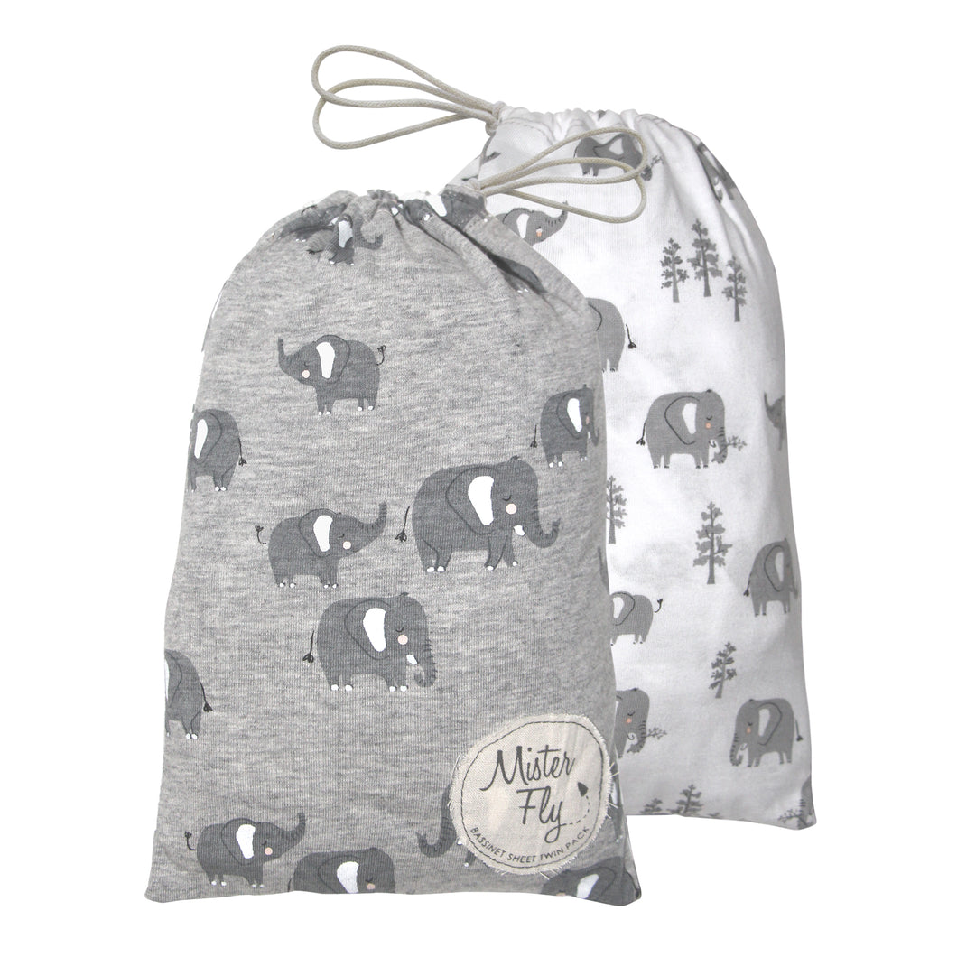 Bassinet Sheets - Elephant - Twin Pack - Mister Fly