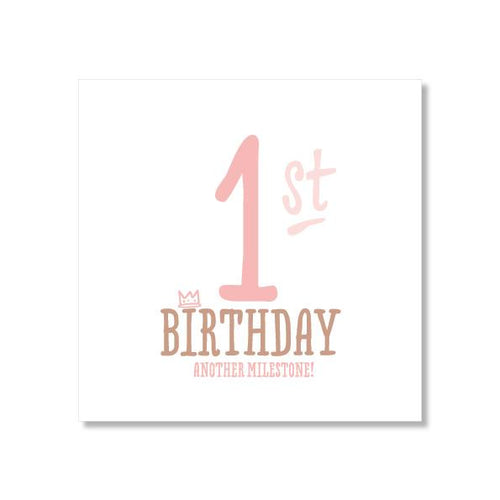 1st Birthday Card - Pink