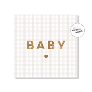 Baby Card - Gingham - Beige