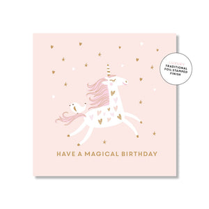 Happy Birthday Card - Blush Unicorn
