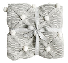 Load image into Gallery viewer, Pom Pom Organic Knit Baby Blanket - Grey - Alimrose