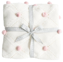 Load image into Gallery viewer, Pom Pom Organic Knit Baby Blanket -Ivory & Pink - Alimrose
