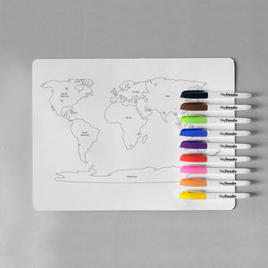 World Countries - Colouring Mat & Markers - Hey Doodle