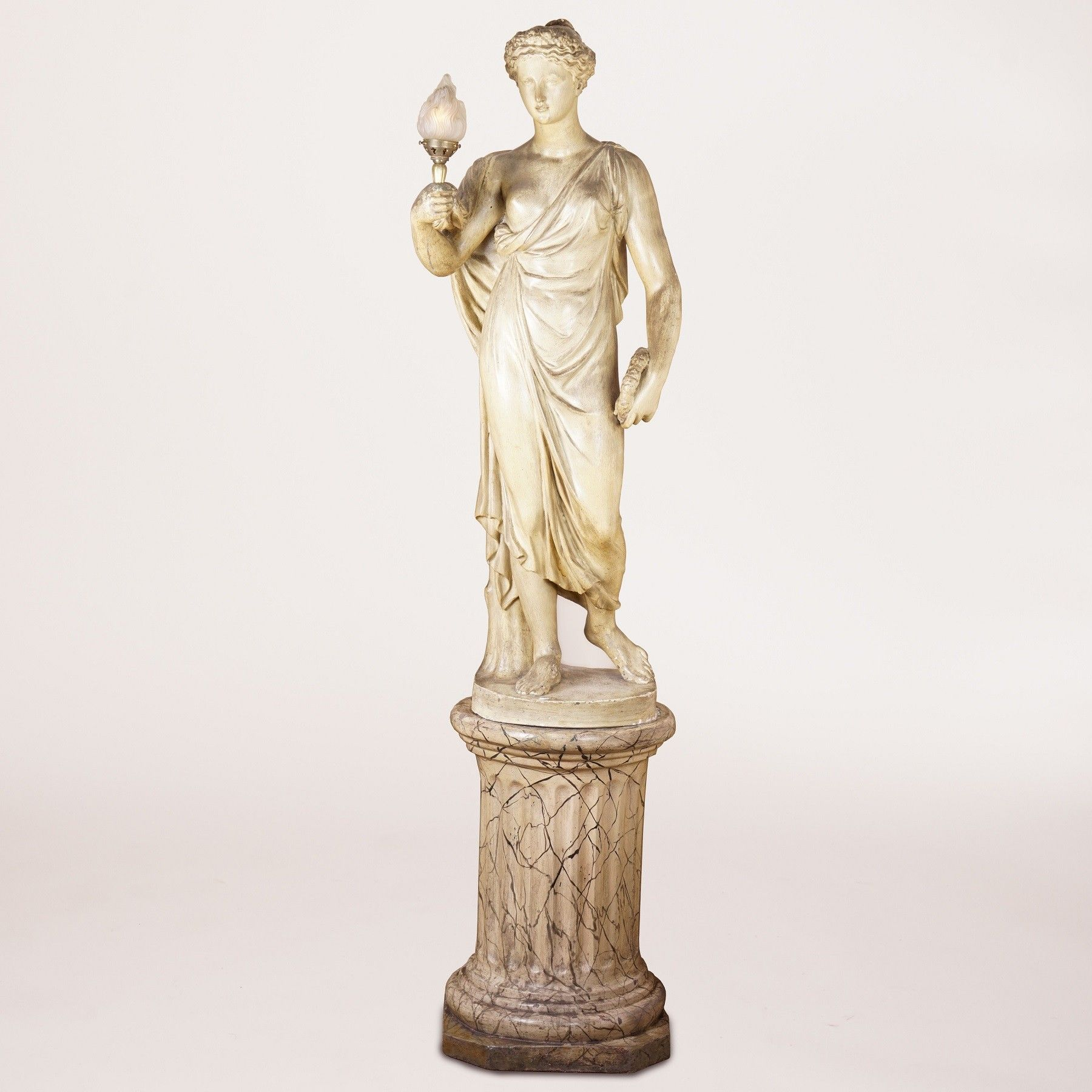 A Painted Plaster Figure of Flora