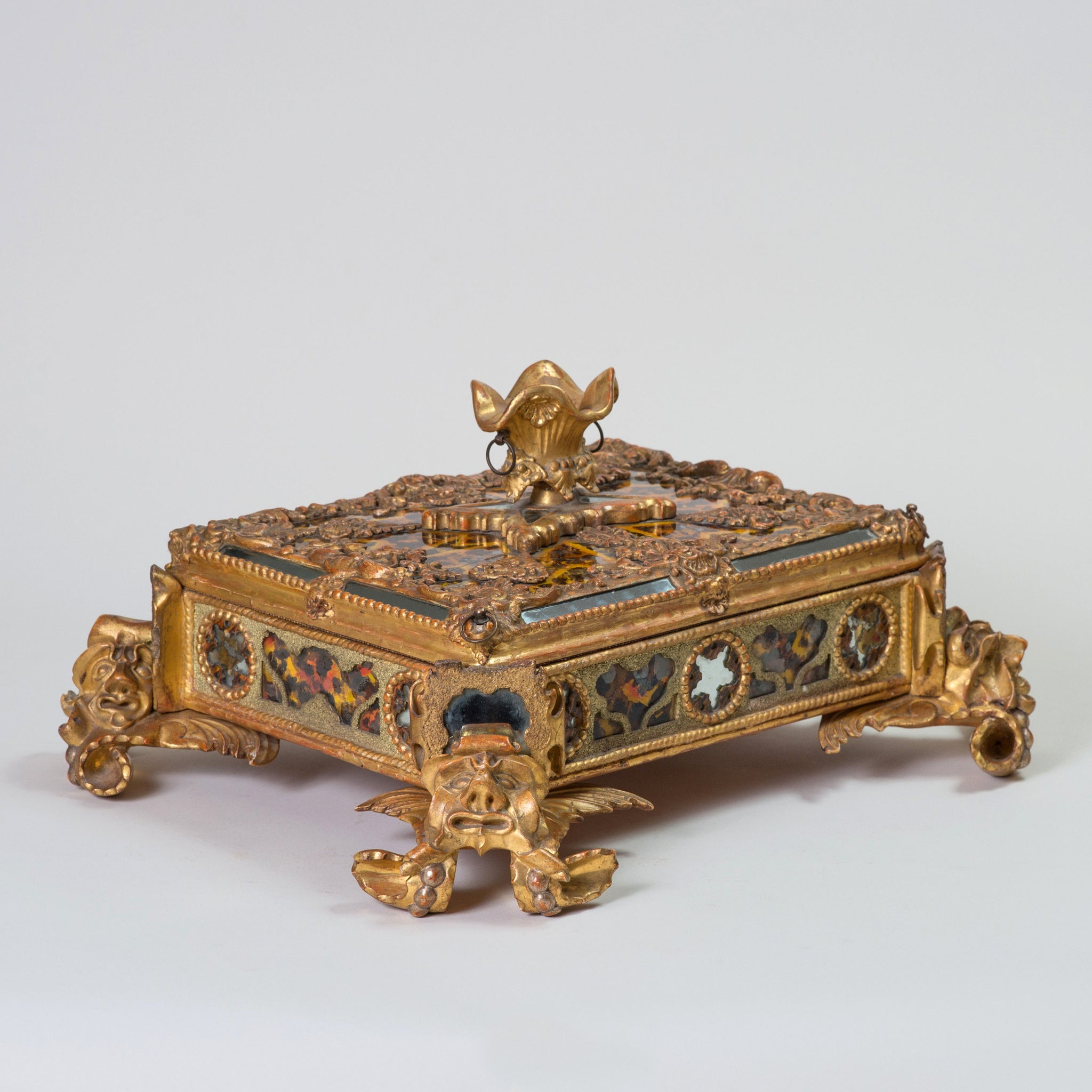 Carved Giltwood, Verre Eglomise, Pastiglia and Crushed Stone-Work Casket