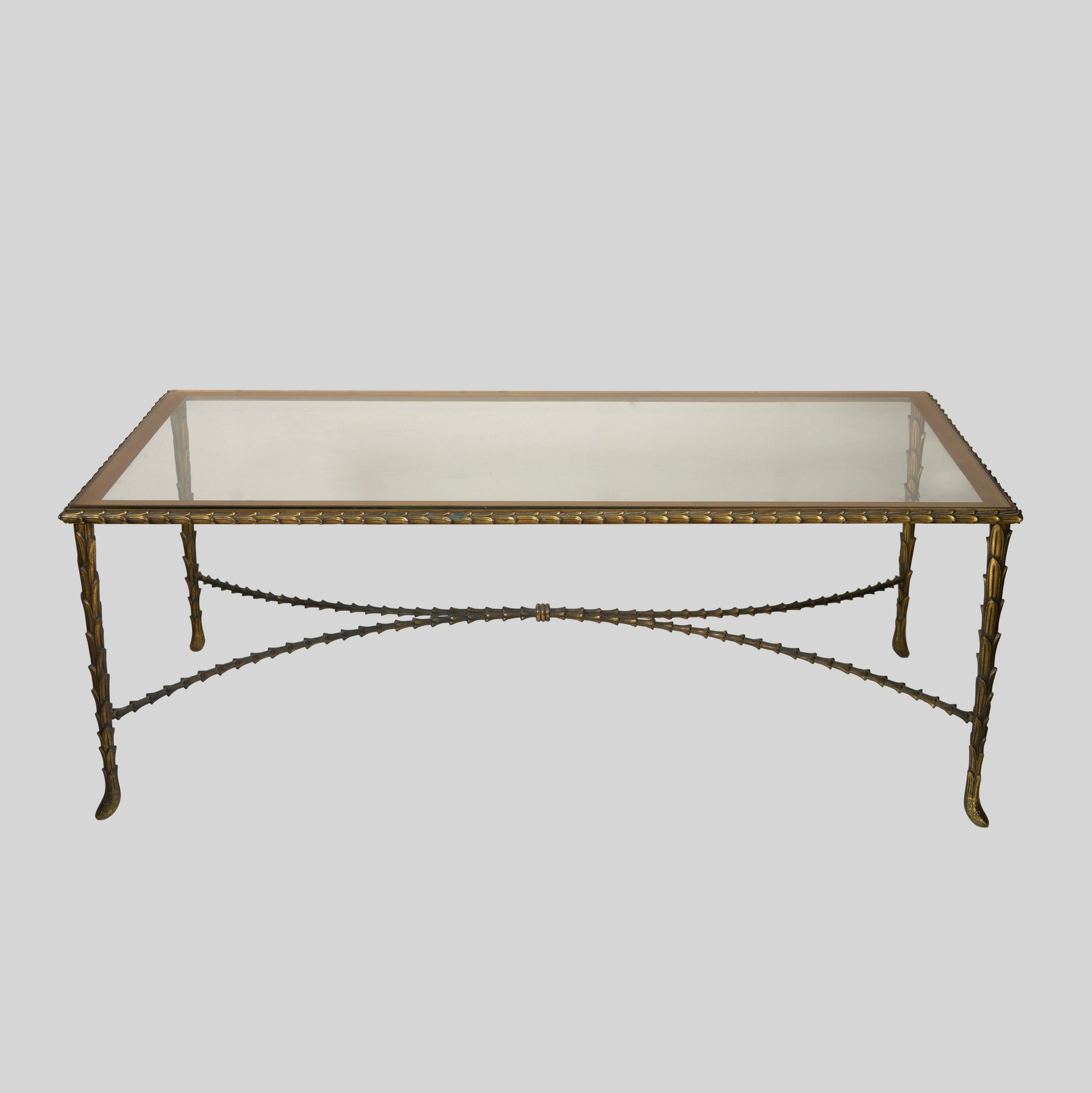Maison Bagues Gilt Bronze & Glass Coffee Table