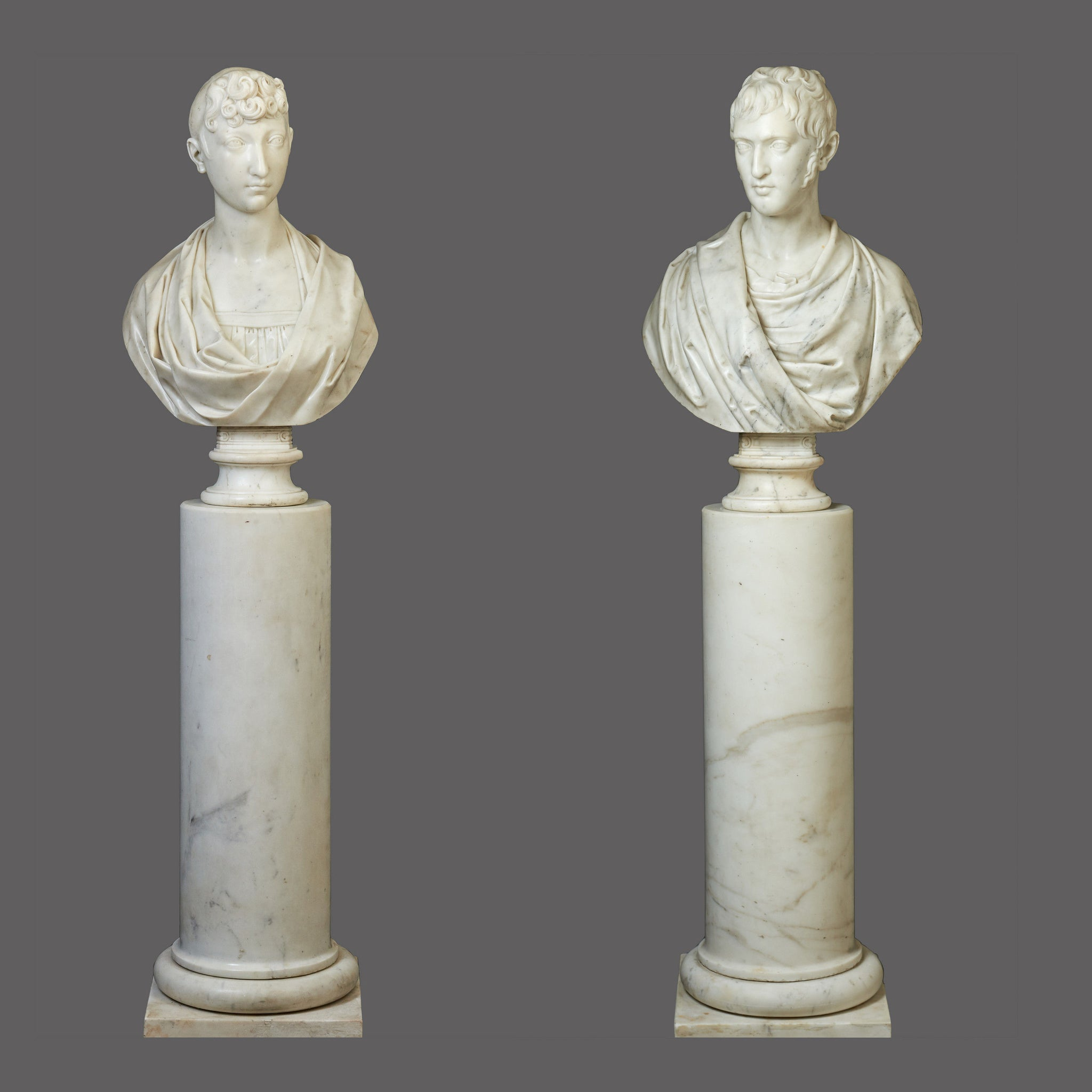 Exceptional Pair of Marble Busts of Pauline Bonaparte & General Charles Leclerc on original columns