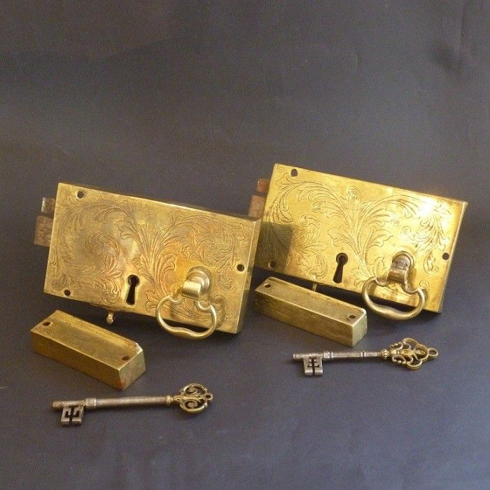 Pair of Georgian Engraved Rim Locks (2245)