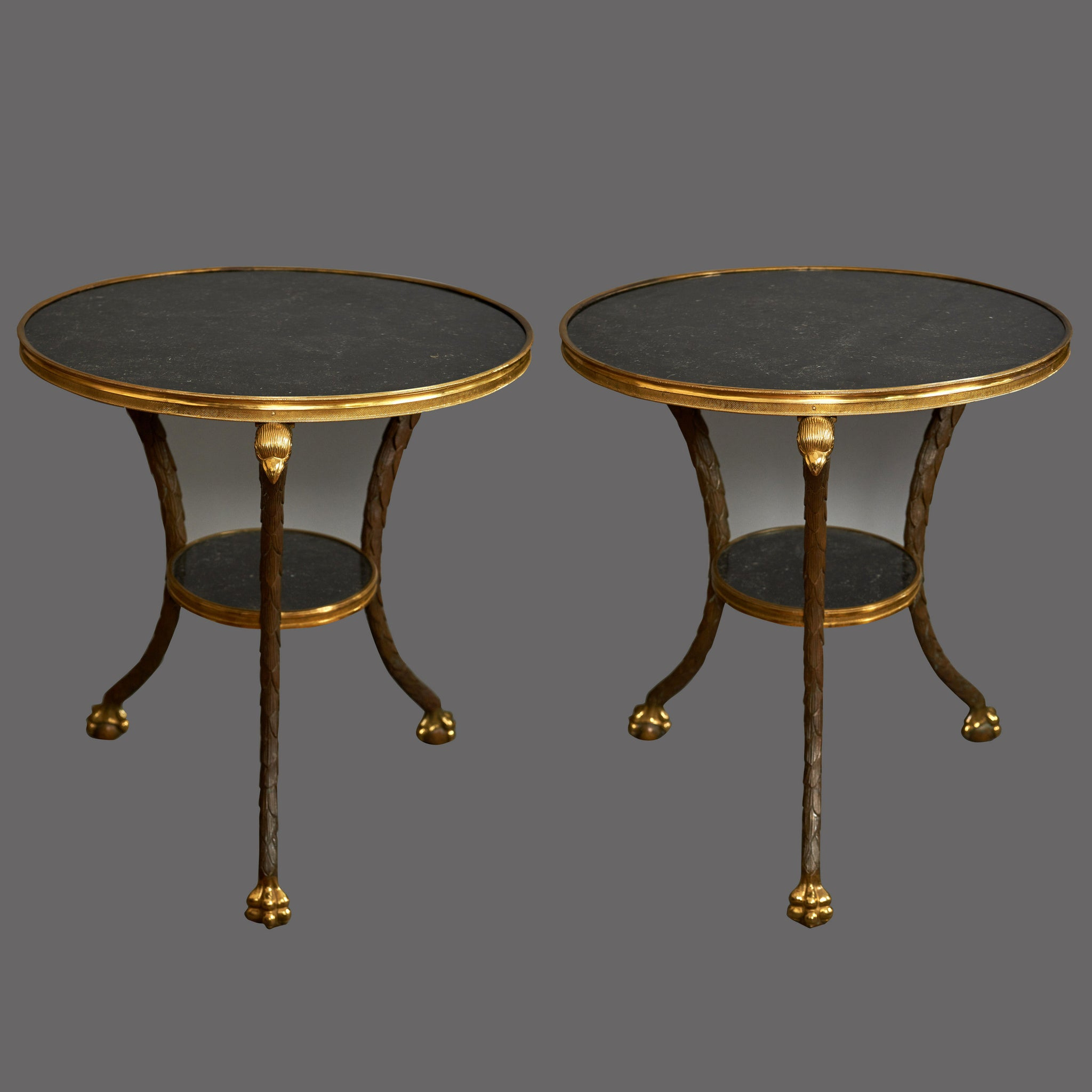 Pair of Marble & Bronze Circular End Tables