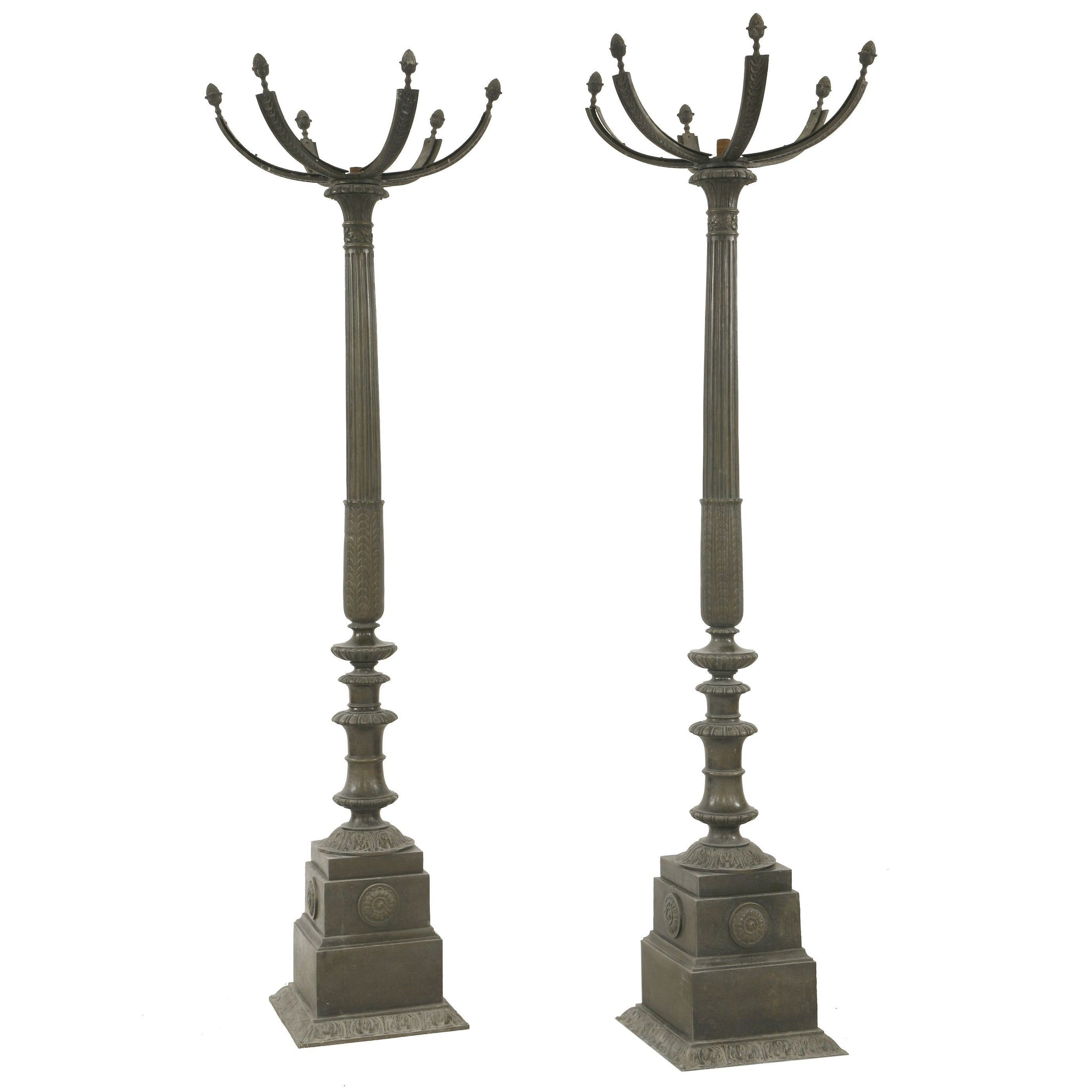 Pair of Bronze Gasoliers