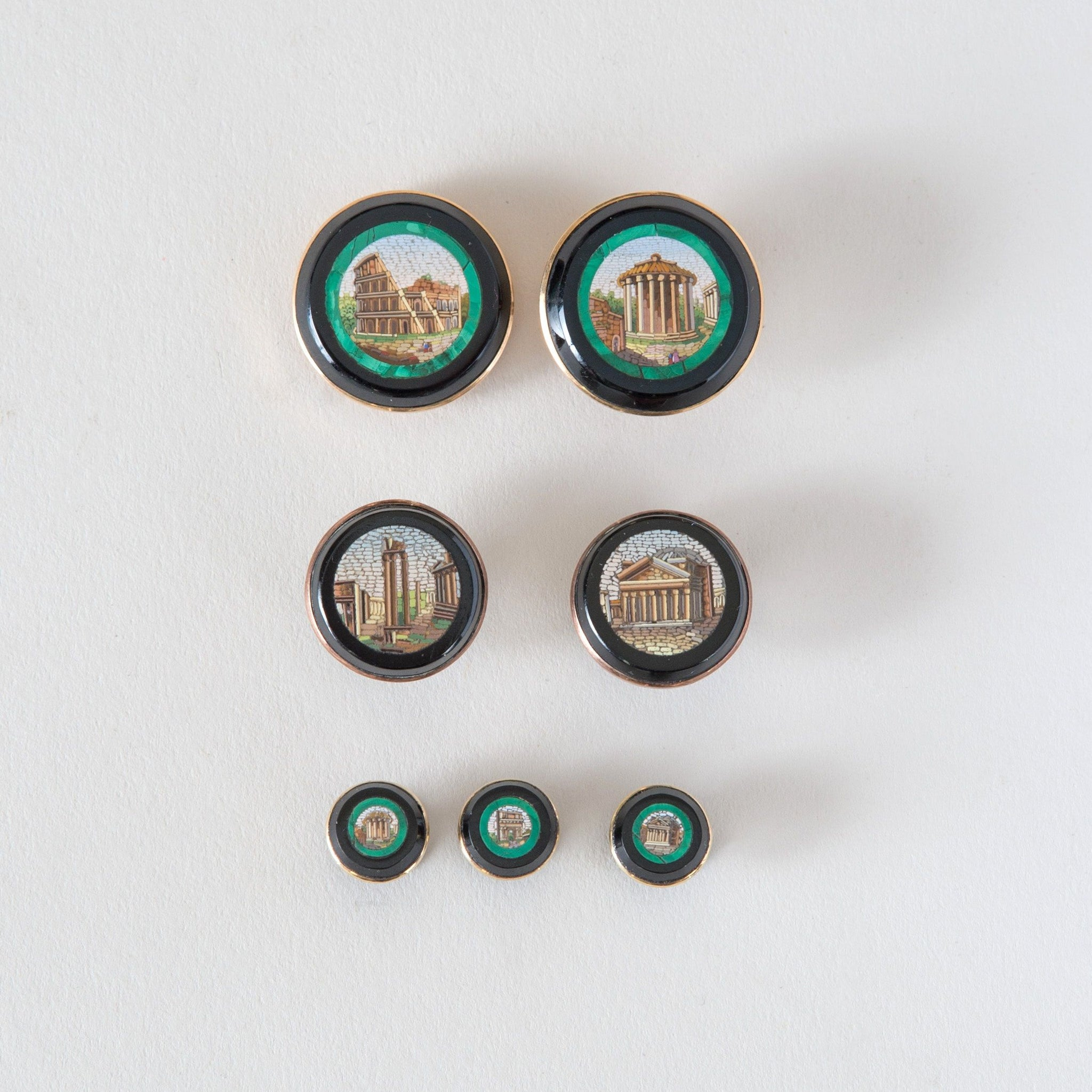 Set of Seven Grand Tour Micro-Mosaic Buttons