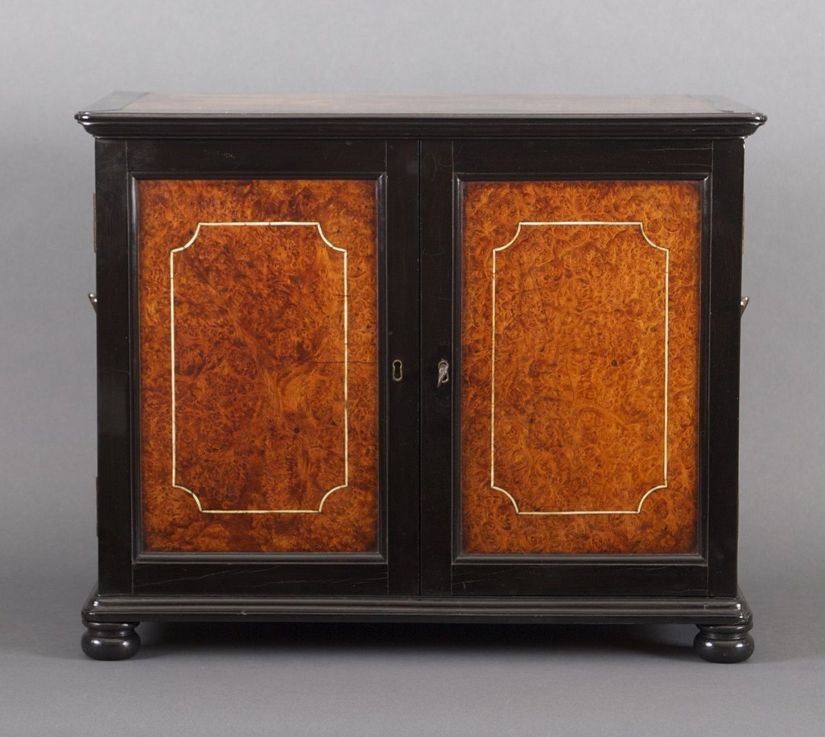 Amboyna and Ebony Veneered Table Cabinet