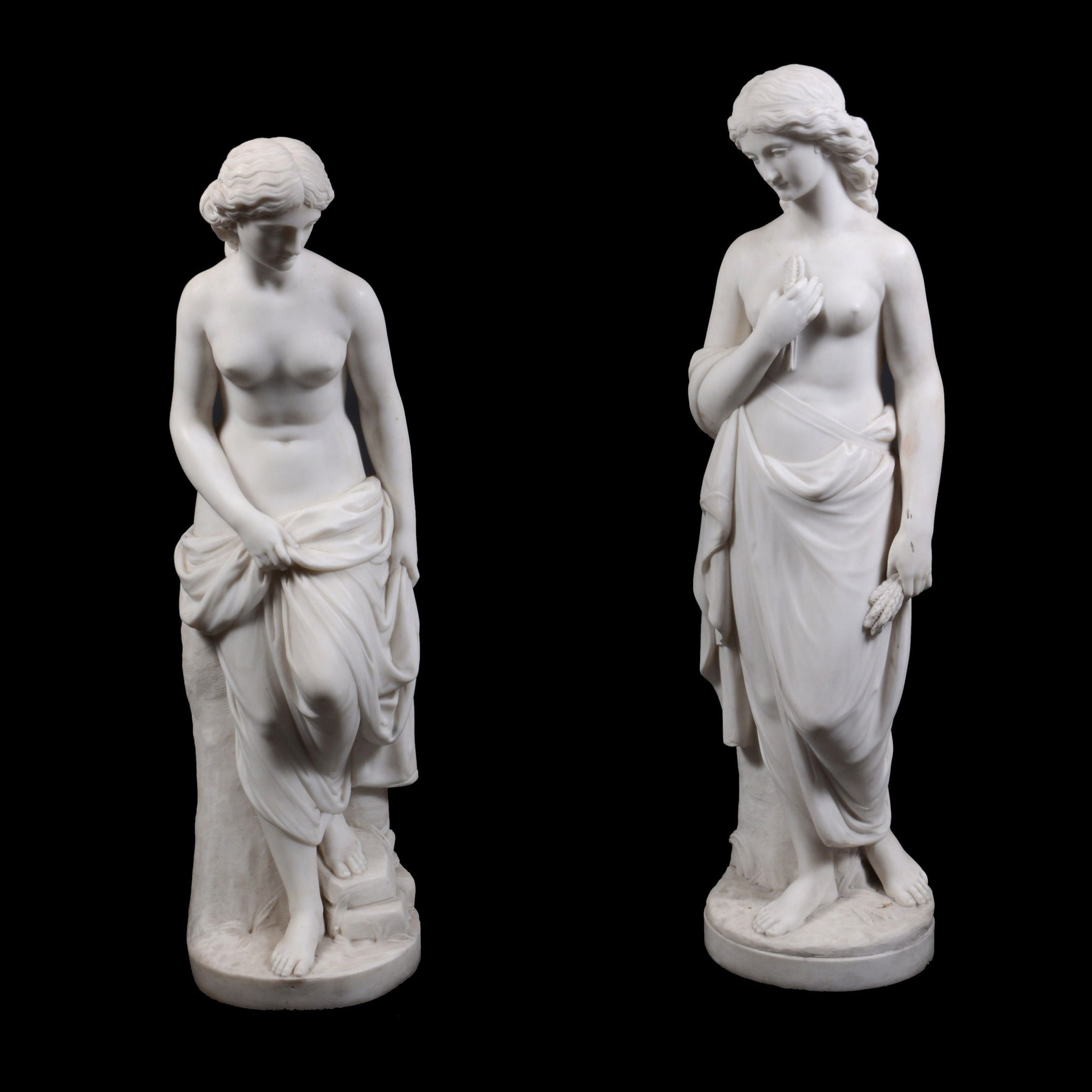 Pair of Neo-Classical Carara Marble Sculptures of Ceres & Venus