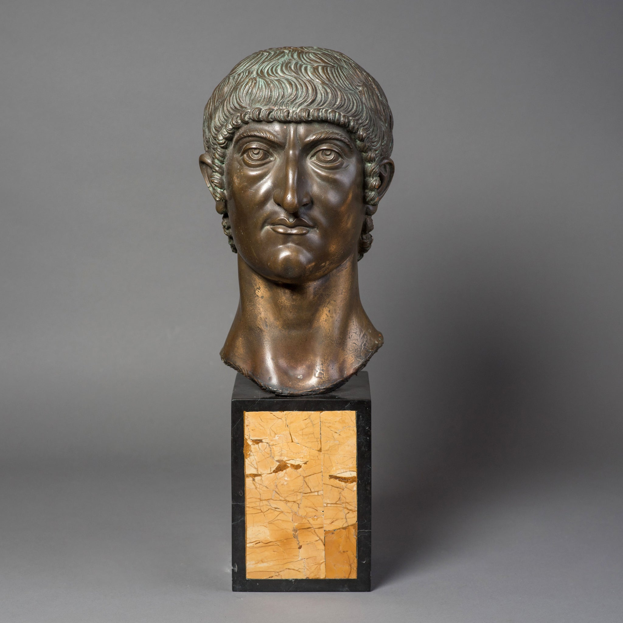 Bronze Bust of Emperor Constantine on a Marble Base