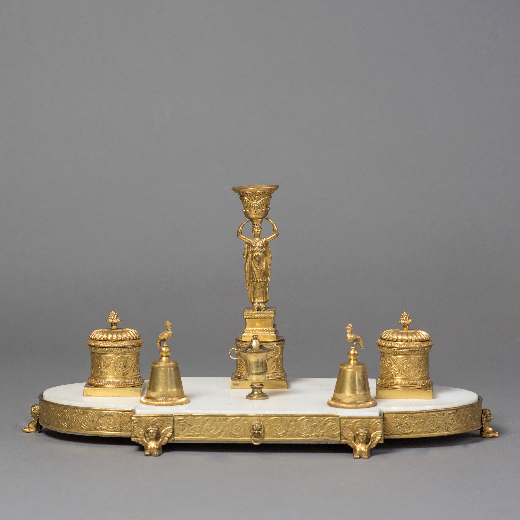 A Fine Late 18th Century Ormolu and Marble Desk Stand