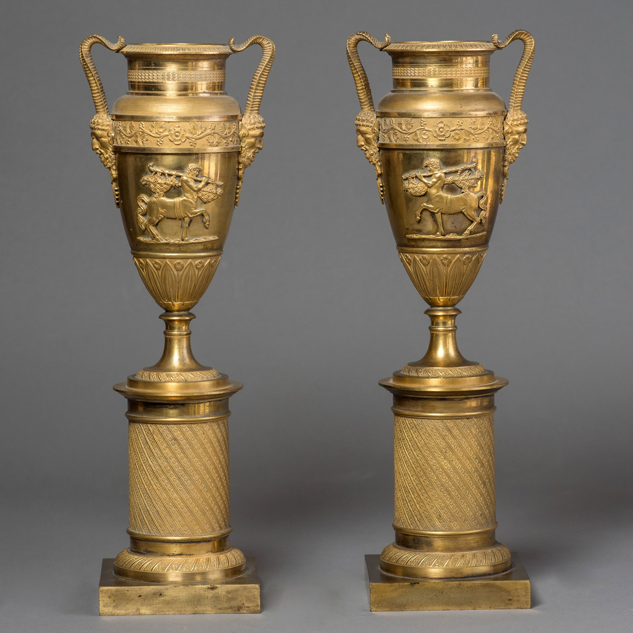 Pair of Gilt Bronze Vases