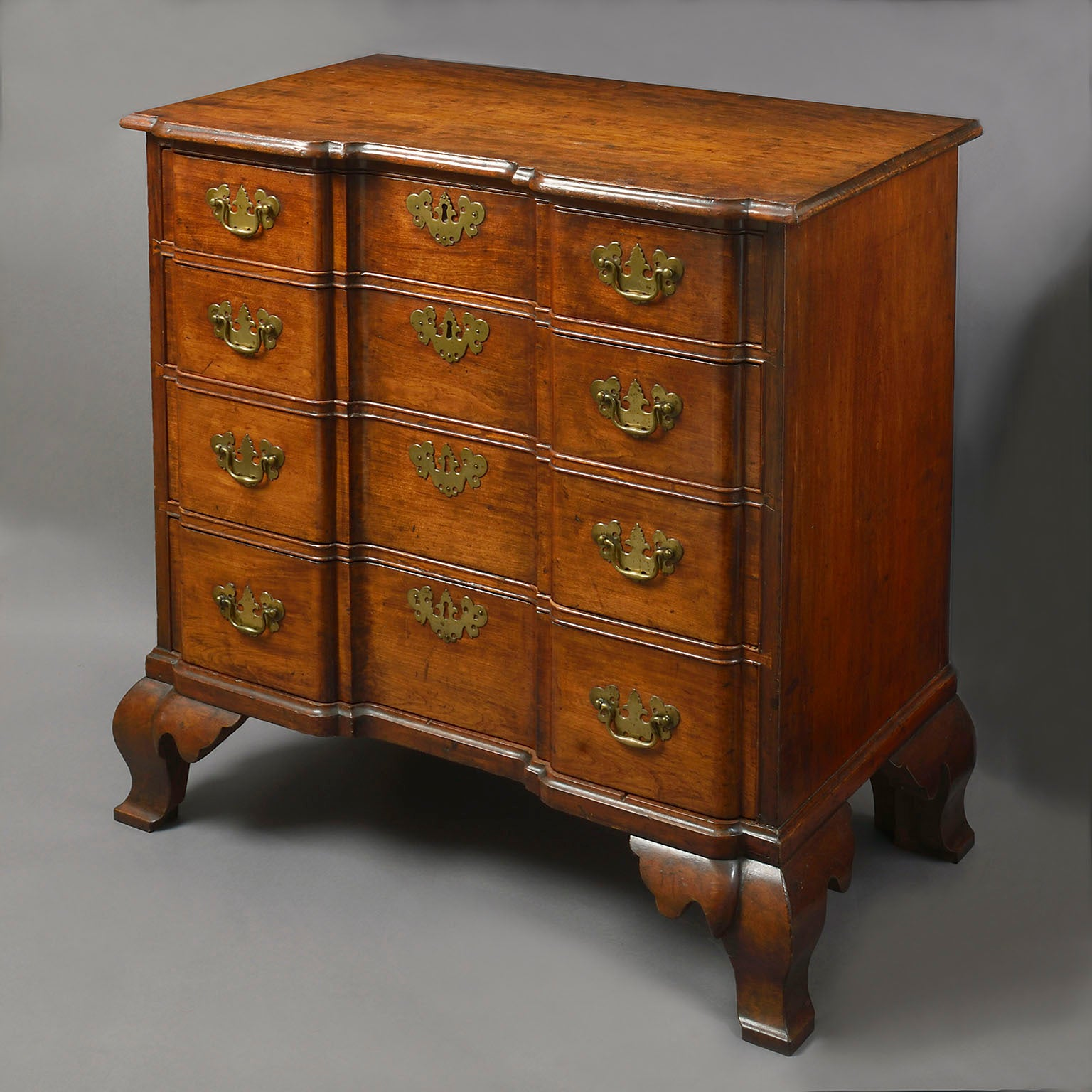 American Cherry Wood Block-Front Chest of the Chippendale Period