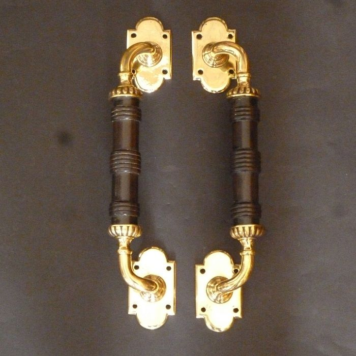 Pair of ebony and rose-brass Door Pulls (6069)