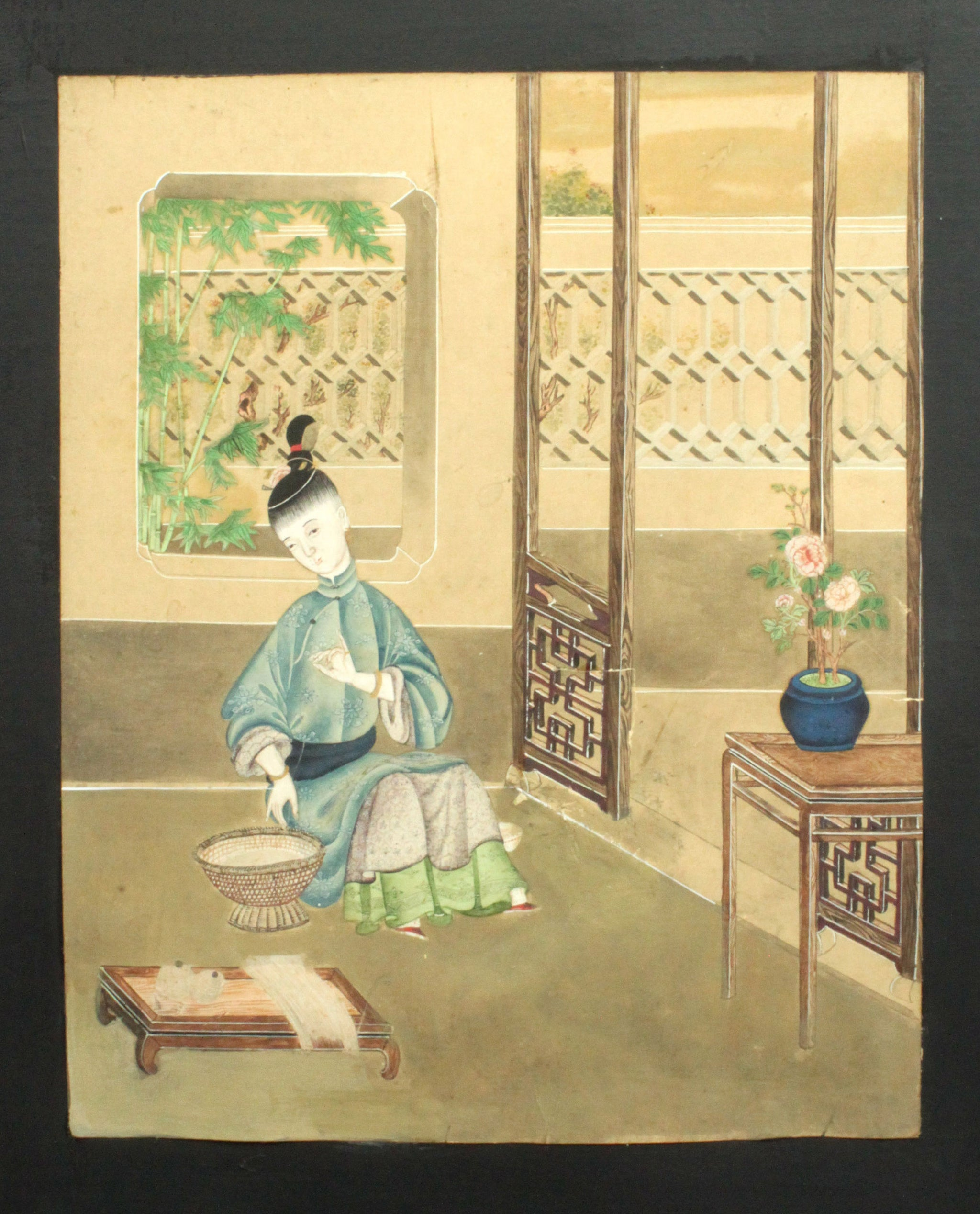 Twelve Substantial Chinese Watercolours Mounted on a Four Fold Screen