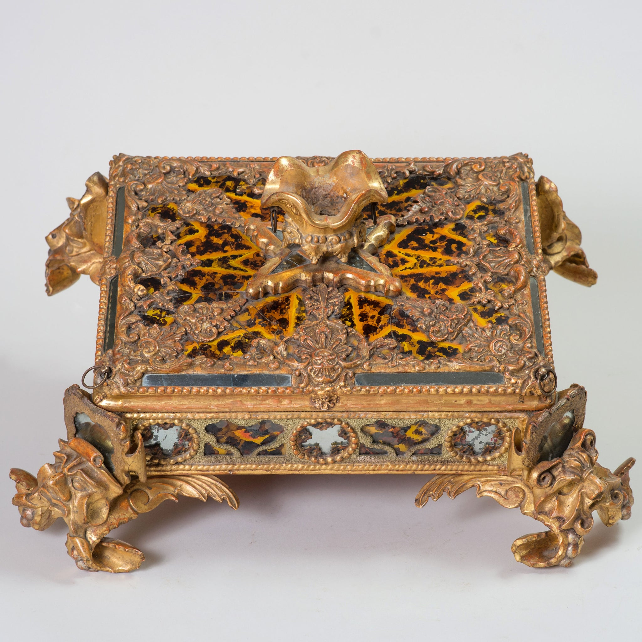 Carved Giltwood, Verre Eglomise, Pastiglia and Crushed Stone Casket