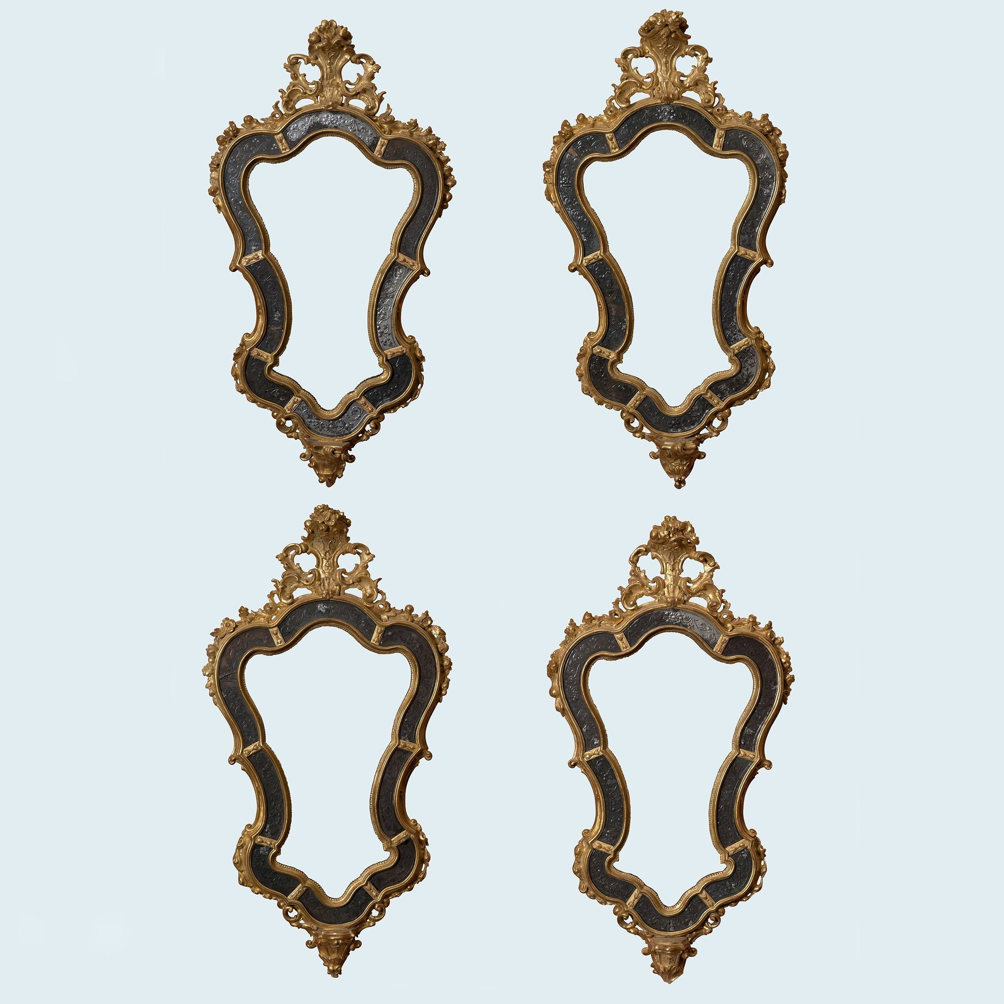 Two Pairs of Gilt Wood Mirrors by Ciceri, Mantica & Torre