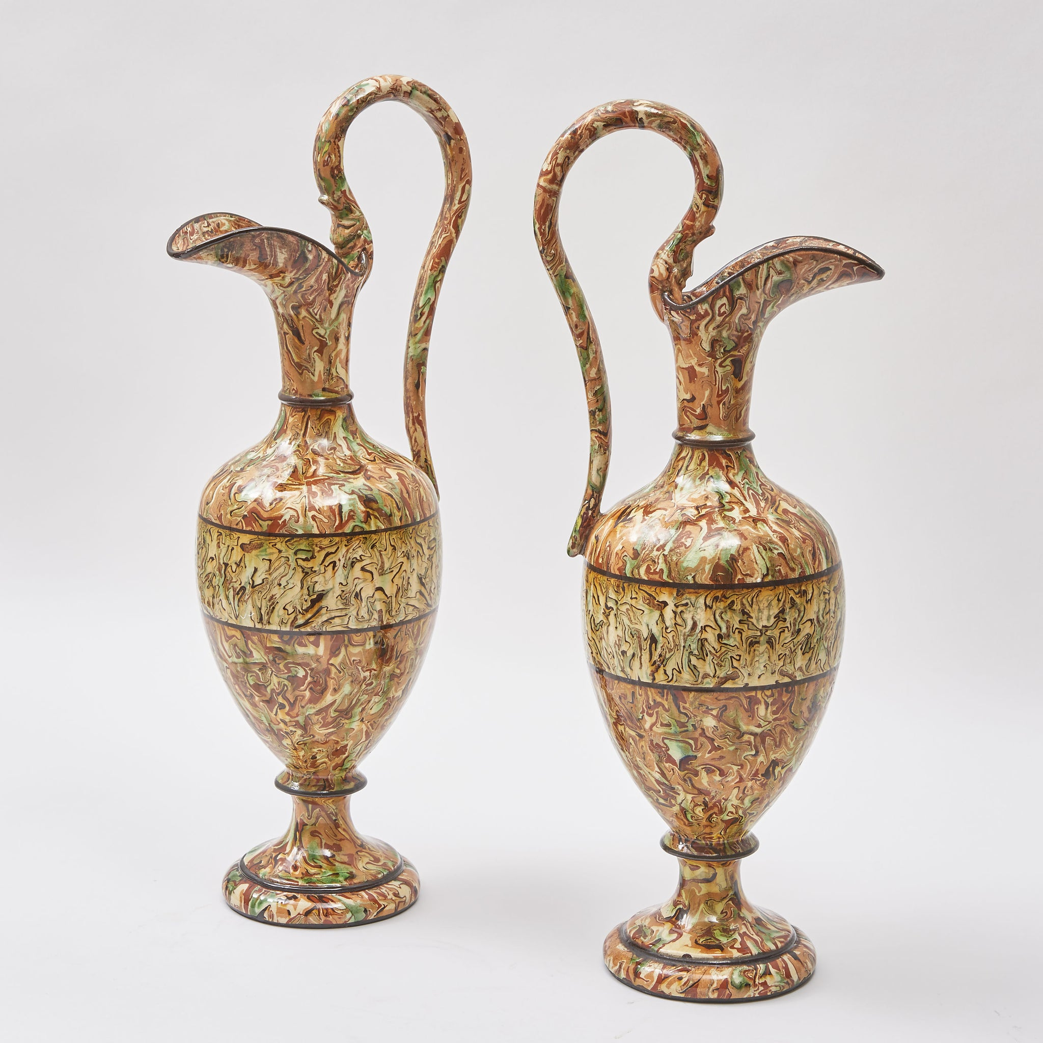 Pair of Provencale Agateware Ewers