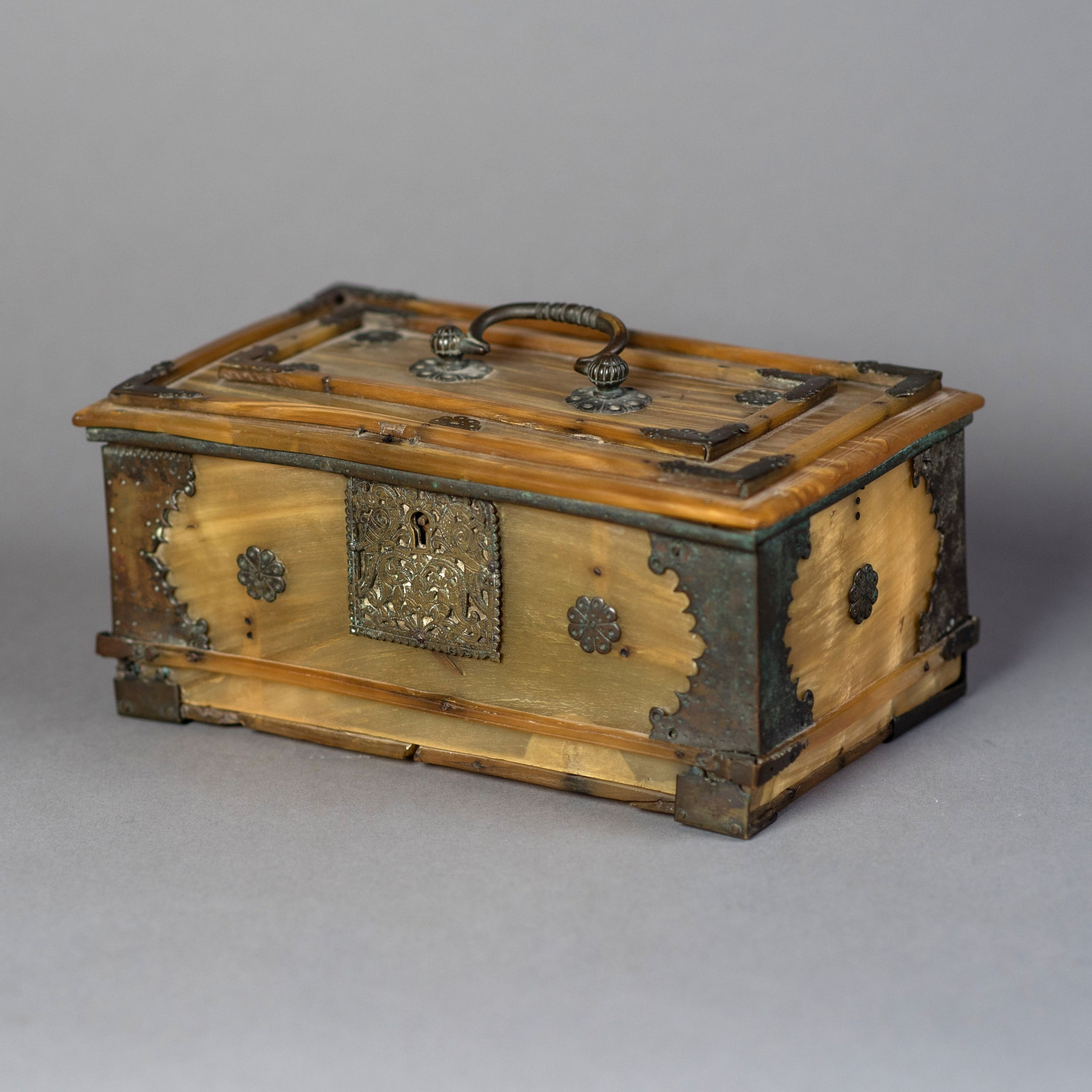 An Unusual Brass Mounted Buffalo Horn Casket