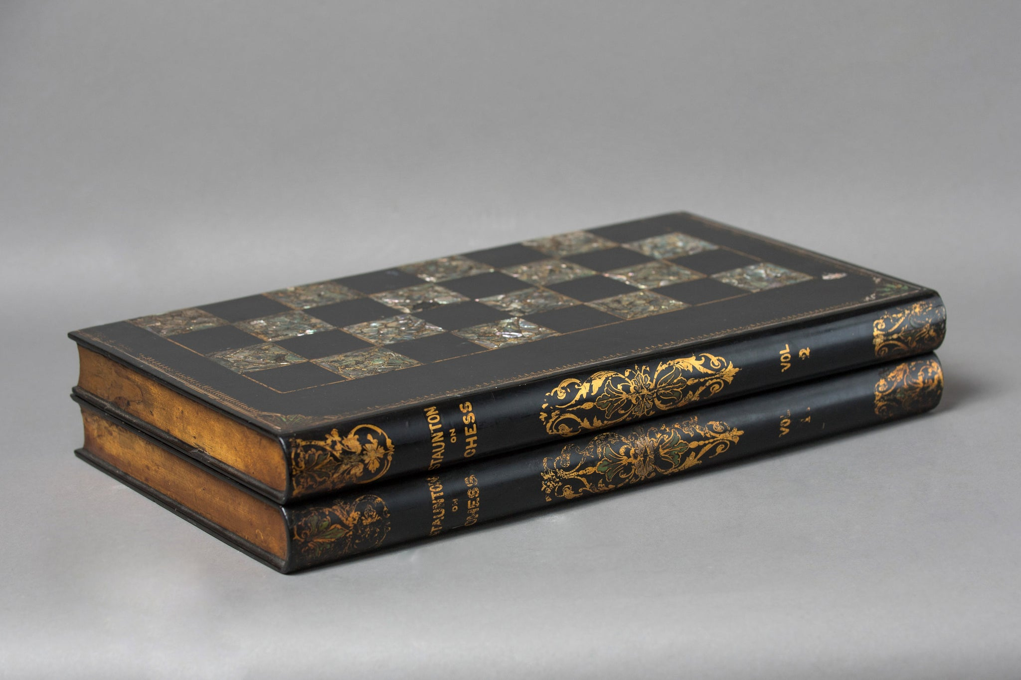 Staunton Chess & Backgammon Board in the Form of a Two Volume Folio