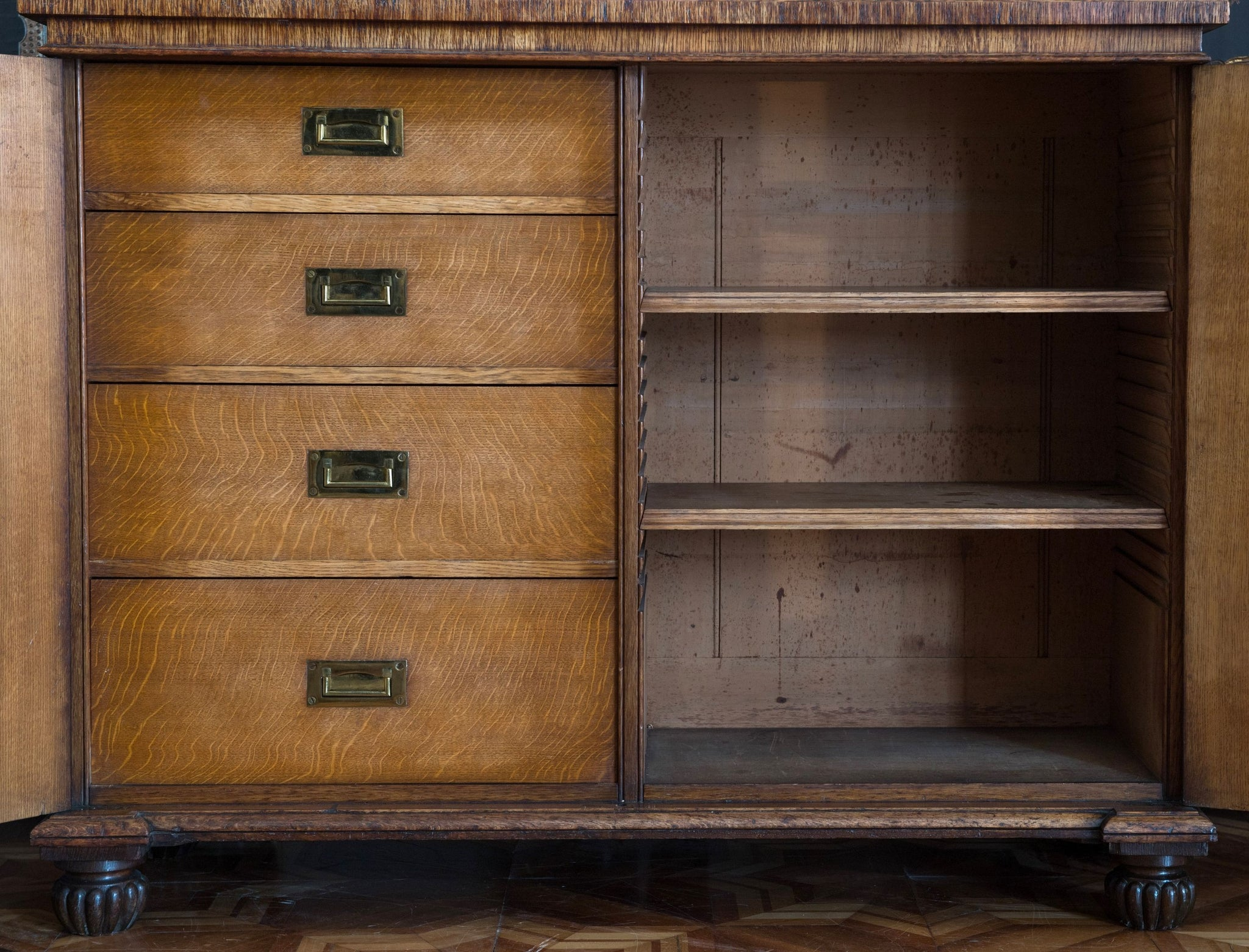 George IV Brown Oak Side Cabinet