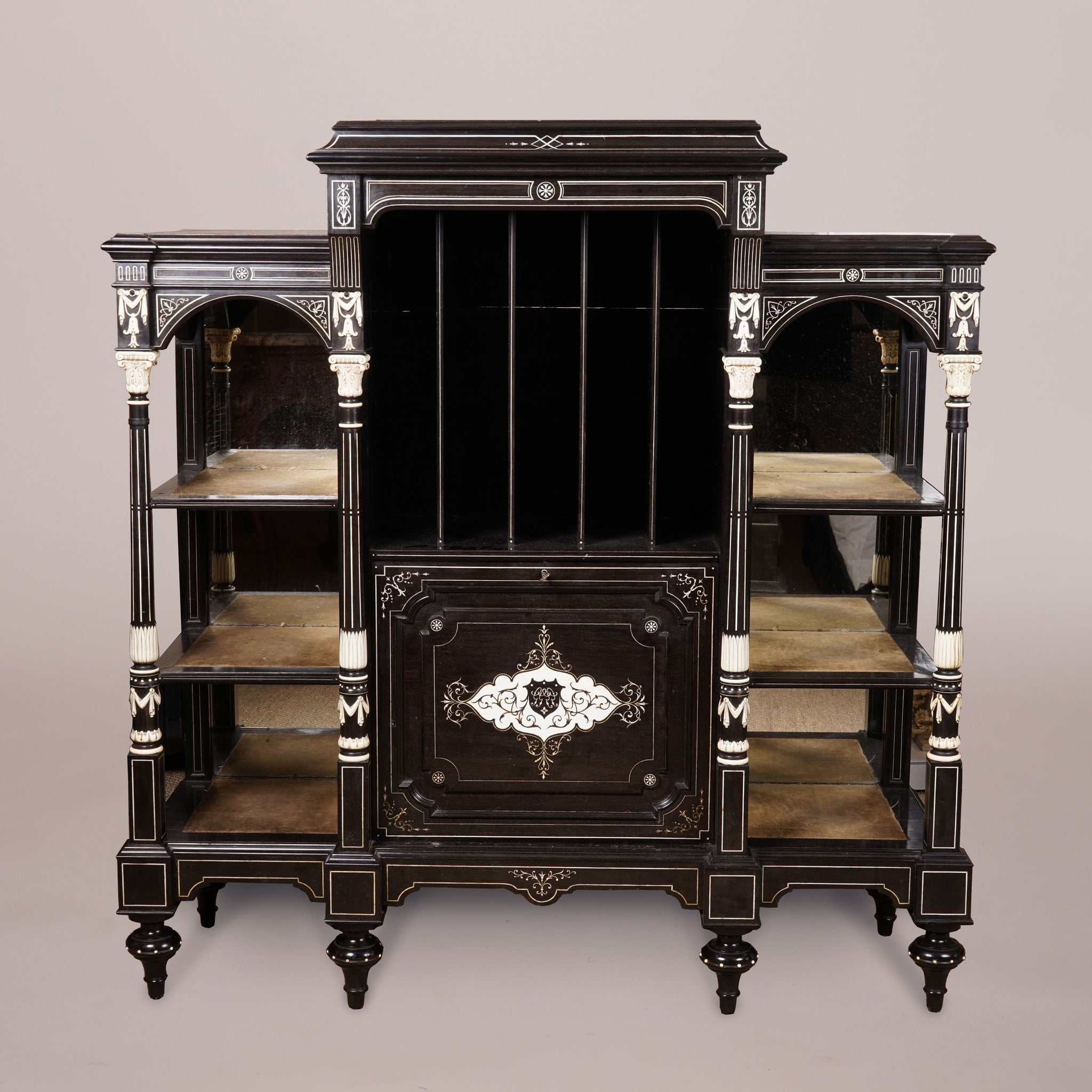 Fine Ebony & Ivory Inlaid Music Cabinet