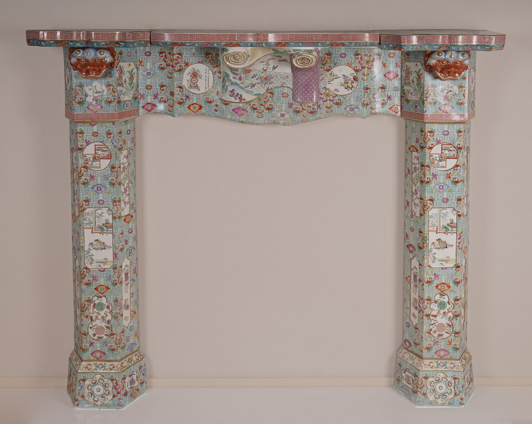 A Fine and Rare Mason's Ironstone Chinoiserie Chimneypiece