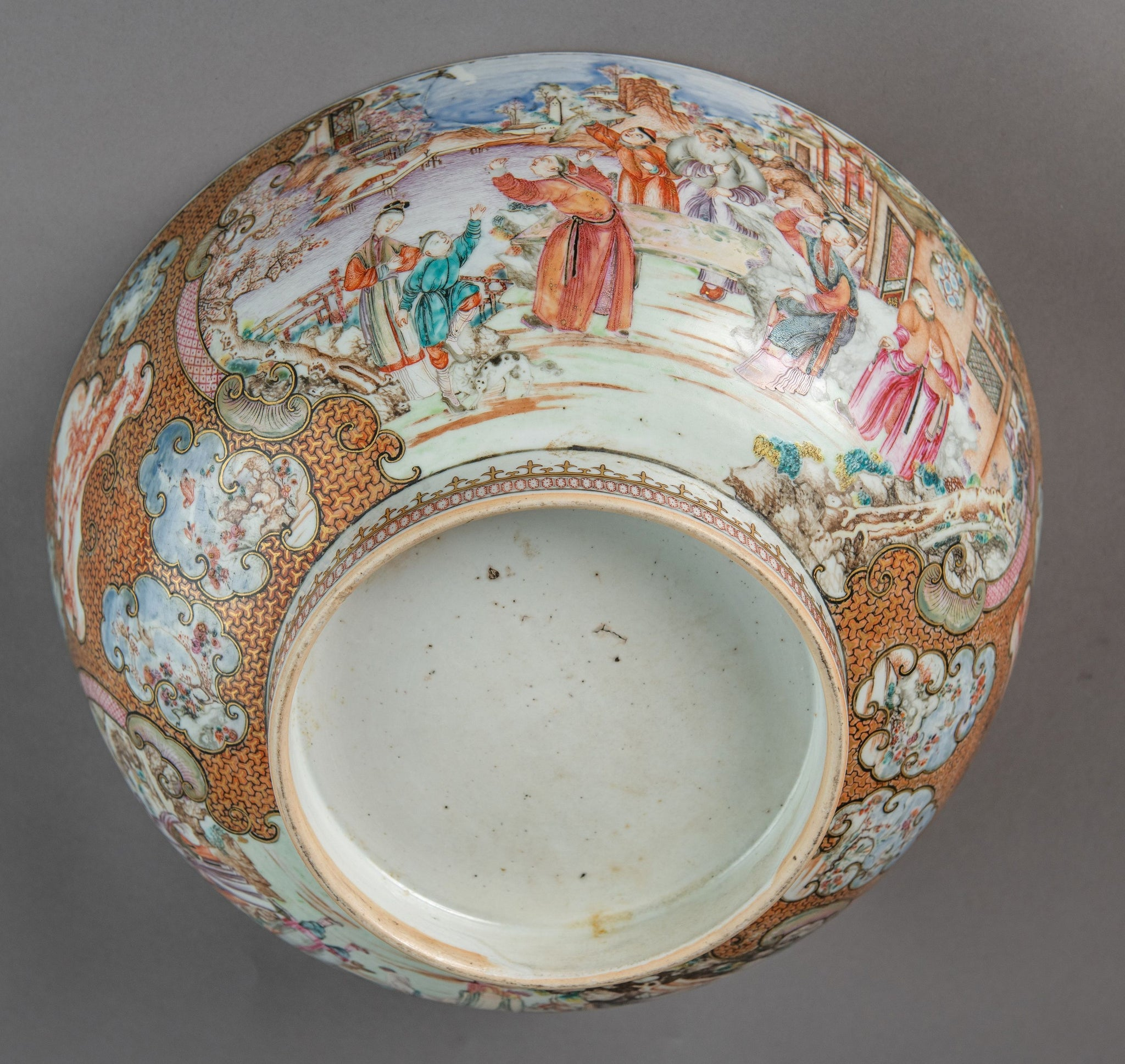 Chinese Export Punch Bowl with Footed Rim