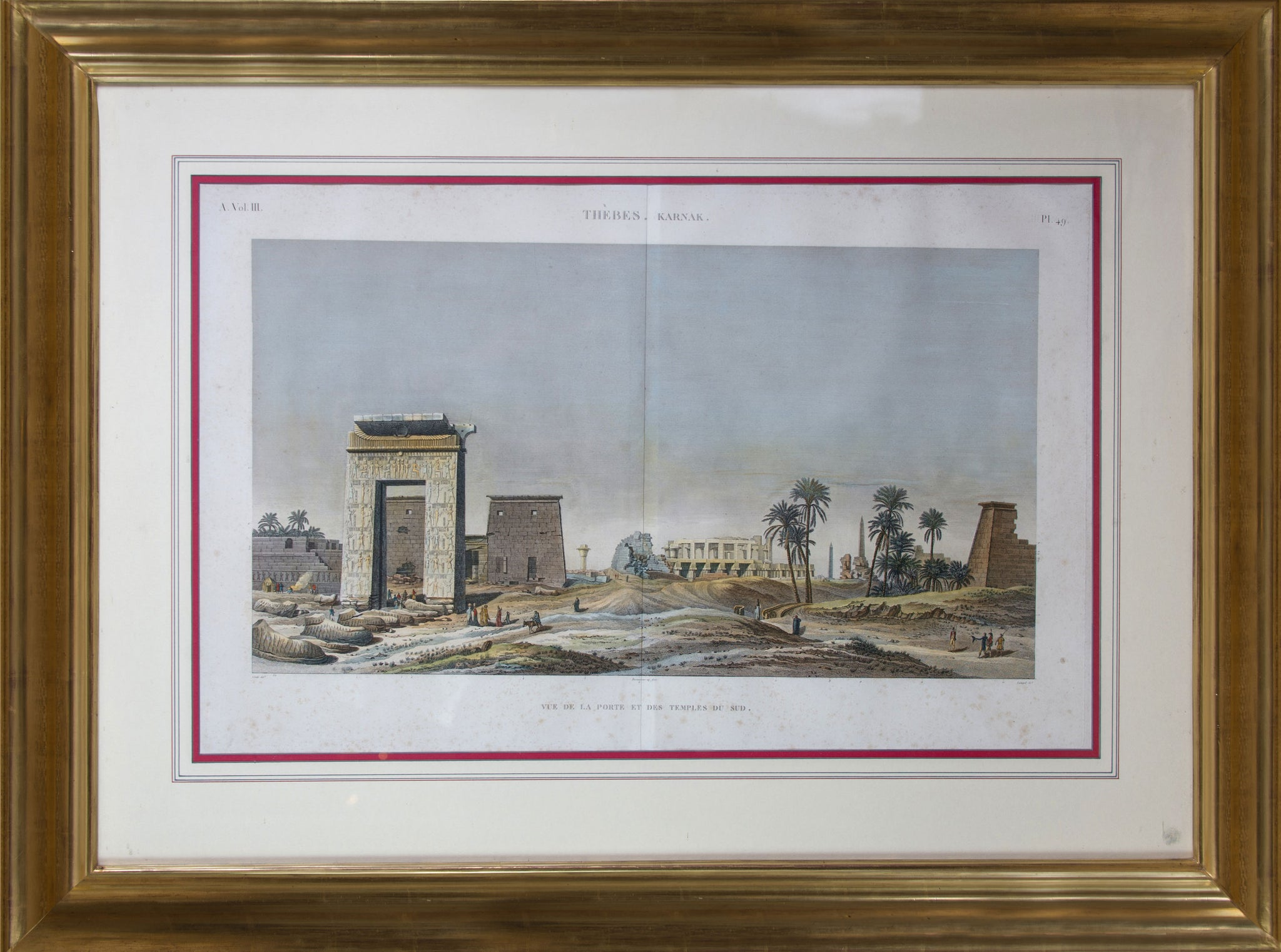 Large Pair of Hand Coloured Engravings of Egypt