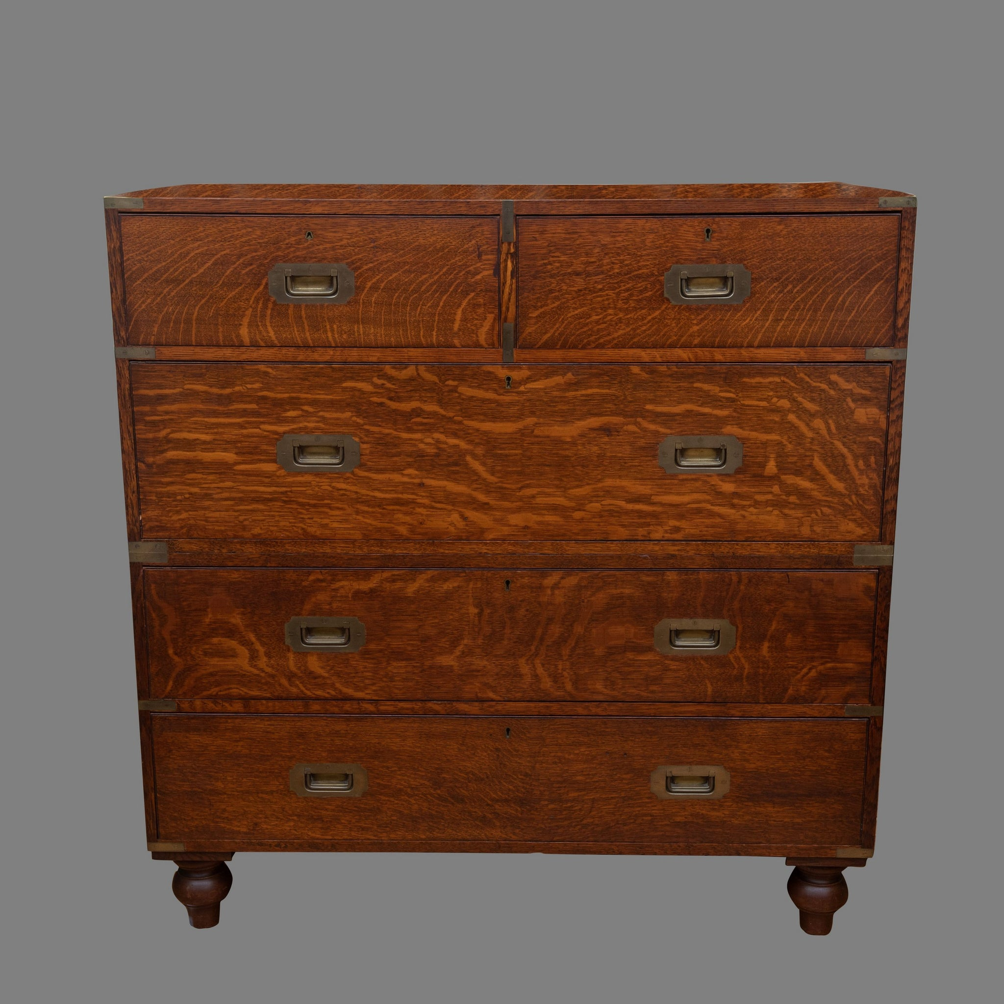 Substantial Army & Navy Oak Campaign Chest