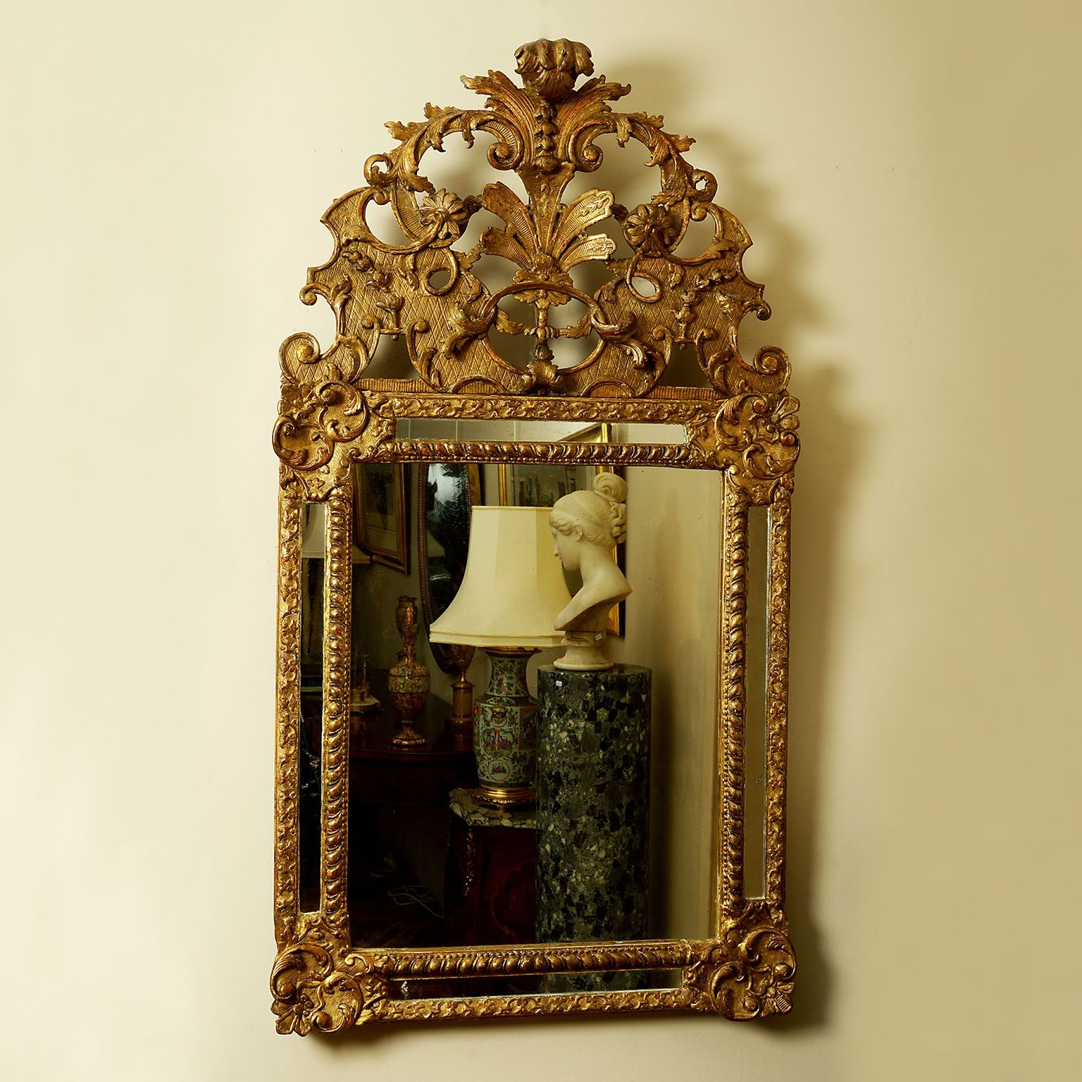 Regence Giltwood and Gesso Wall Mirror
