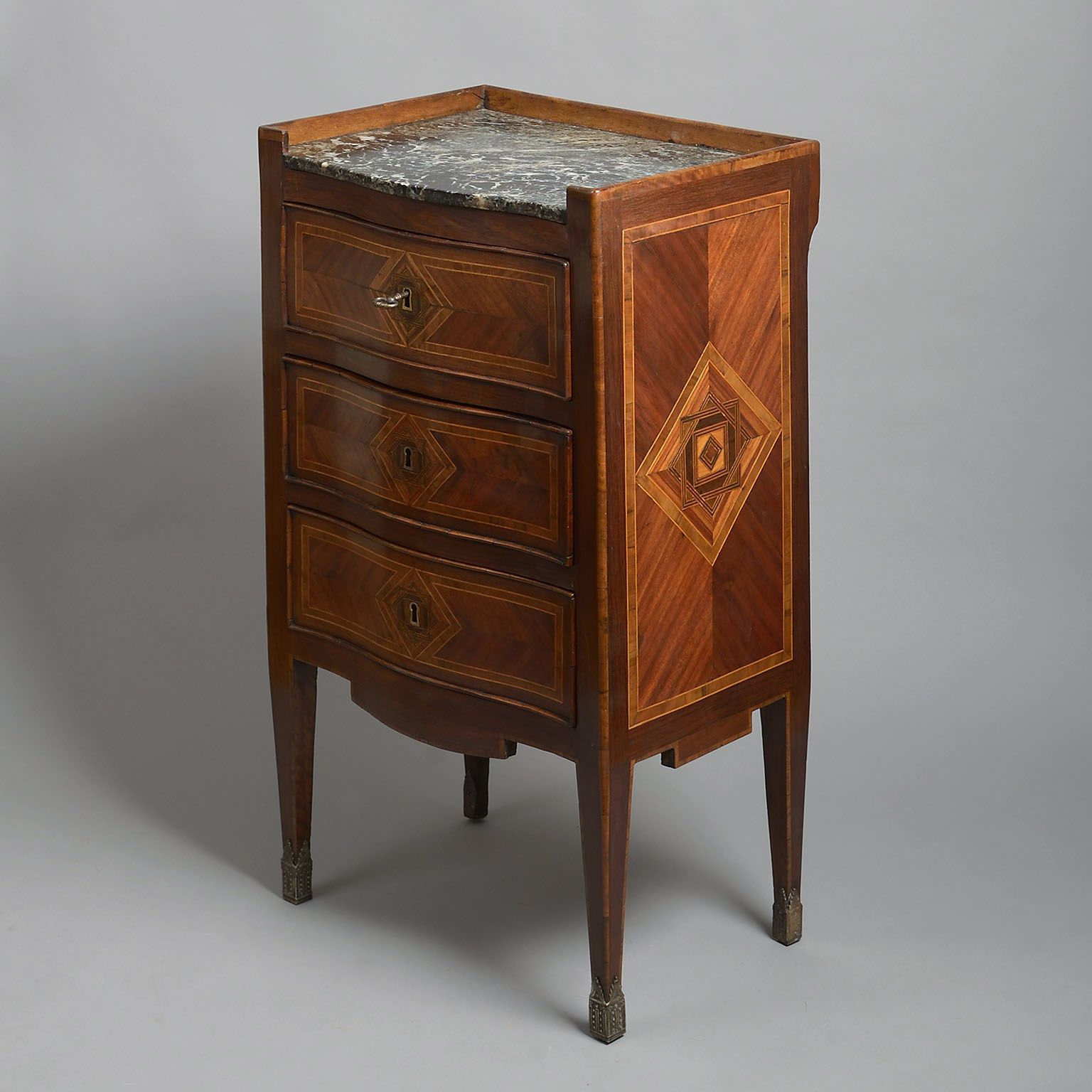 Pair of Serpentine Fronted Mahogany Inlaid Bedside Tables